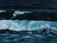 Dance of the Waves by Shveta Saxena, Expressionism Painting, Acrylic on Canvas, Blue color