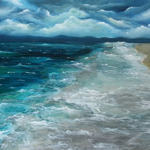 Serenity by Shveta Saxena, Expressionism Painting, Acrylic on Canvas, Cyan color