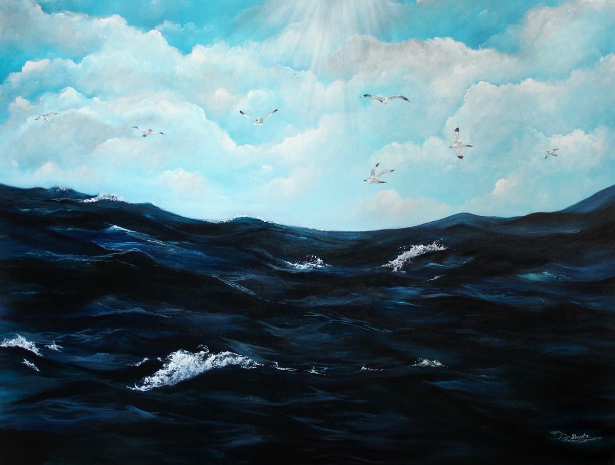 Harmony by Shveta Saxena, Expressionism Painting, Acrylic on Canvas, Cyan color