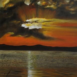 Orange Evening by Shveta Saxena, Impressionism Painting, Acrylic on Canvas, Brown color