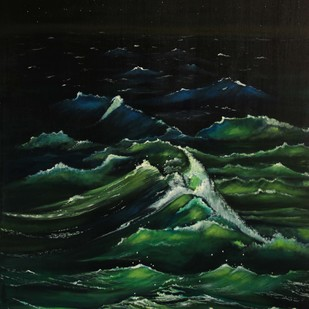 Ocean Night by Shveta Saxena, Expressionism Painting, Acrylic on Canvas, Green color