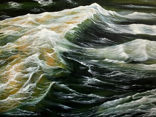 Tidal Wave by Shveta Saxena, Expressionism Painting, Acrylic on Canvas, Green color