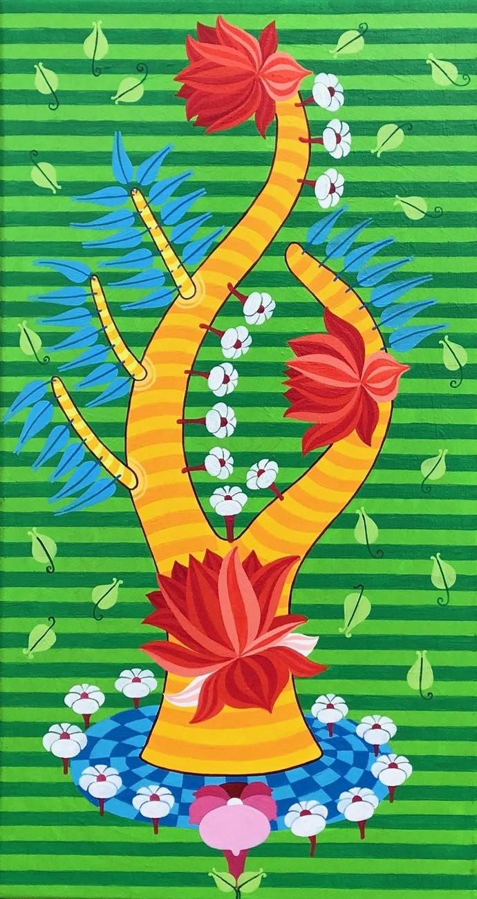 Untitled by Thota Laxminarayana, Decorative Painting, Acrylic on Canvas, Green color