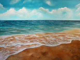 Bliss by Shveta Saxena, Impressionism Painting, Acrylic on Canvas, Cyan color