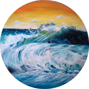 Blue Surf by Shveta Saxena, Impressionism Painting, Acrylic on Canvas, Cyan color