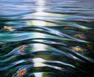 Koi Fish by Shveta Saxena, Realism Painting, Acrylic on Canvas, Green color