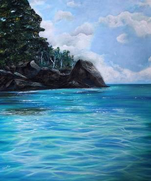 Tranquil by Shveta Saxena, Realism Painting, Acrylic on Canvas, Cyan color
