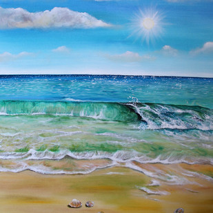Summer waves by Shveta Saxena, Impressionism Painting, Acrylic on Canvas, Cyan color