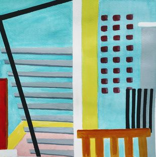 Window Space 1 by AASHISH TANWAR, Geometrical Painting, Acrylic on Paper, Cyan color