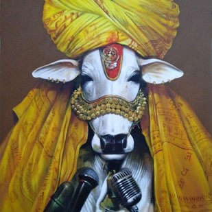 speeker by Jiban Biswas, Realism Painting, Acrylic on Canvas, Brown color