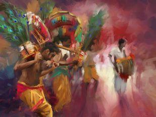 The Divine Dance- Kavadi Digital Print by The Print Studio,Digital