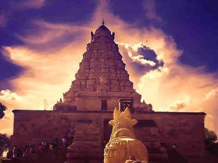 Temple Gopuram Digital Print by The Print Studio,Digital