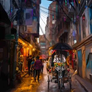 Rickshaw Ride on a Rainy Day Digital Print by The Print Studio,Digital