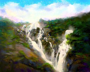 Scenic Waterfall Digital Print by The Print Studio,Digital