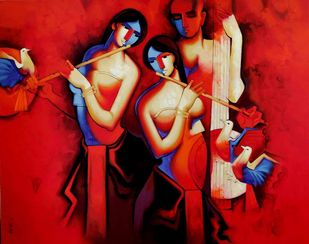 Soul of Music by Arvind Kolapkar, Decorative Painting, Acrylic on Canvas, Red color