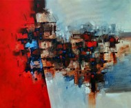 Dream city by Arvind Kolapkar, Abstract Painting, Acrylic on Canvas, Brown color