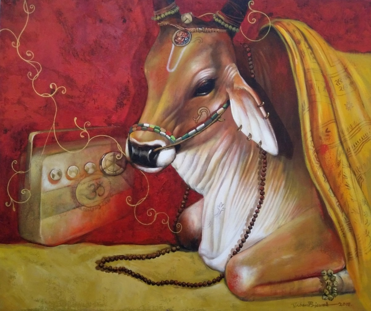 holi cow by Jiban Biswas, Photorealism Painting, Acrylic on Canvas, Brown color