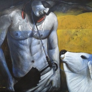 Emotional attachment by Jiban Biswas, Realism Painting, Acrylic on Canvas, Gray color