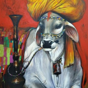 nostalgia by Jiban Biswas, Realism Painting, Acrylic on Canvas, Brown color