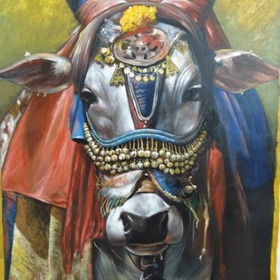 holi cow by Jiban Biswas, Expressionism Painting, Acrylic on Canvas, Brown color