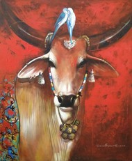 happy journey by Jiban Biswas, Realism Painting, Acrylic on Canvas, Brown color