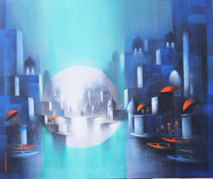 Holy Banaras by Somnath Bothe, Impressionism Painting, Mixed Media on Canvas, Blue color