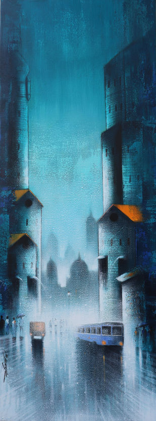 Rhythmic Monsoon Ride by Somnath Bothe, Impressionism Painting, Acrylic on Canvas, Blue color