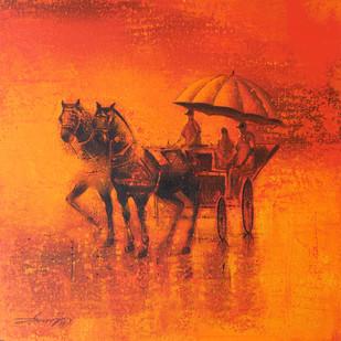 Rhythmic Monsoon Ride by Somnath Bothe, Impressionism Painting, Acrylic on Canvas, Orange color