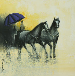 Rhythmic Monsoon Ride by Somnath Bothe, Impressionism Painting, Mixed Media on Canvas, Beige color