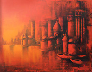 Holy Banaras by Somnath Bothe, Impressionism Painting, Acrylic on Canvas, Brown color