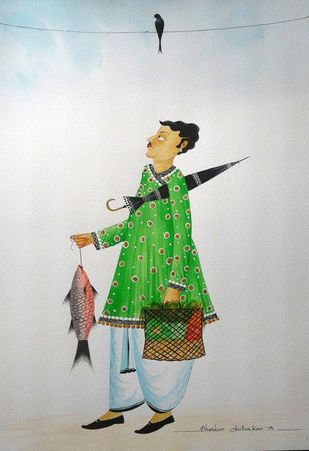 """Babu getting """"crow blessings"""" by Bhaskar Chitrakar, Folk Painting, Natural colours on paper, Gray color"""