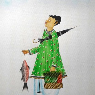 "Babu getting ""crow blessings"" by Bhaskar Chitrakar, Folk Painting, Natural colours on paper, Gray color"