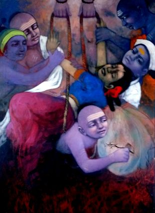dream by Apet Pramod Mahadev, Expressionism Painting, Acrylic on Canvas, Blue color