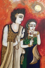 Romentic coupIe by Nandini, Expressionism Painting, Acrylic on Canvas, Brown color