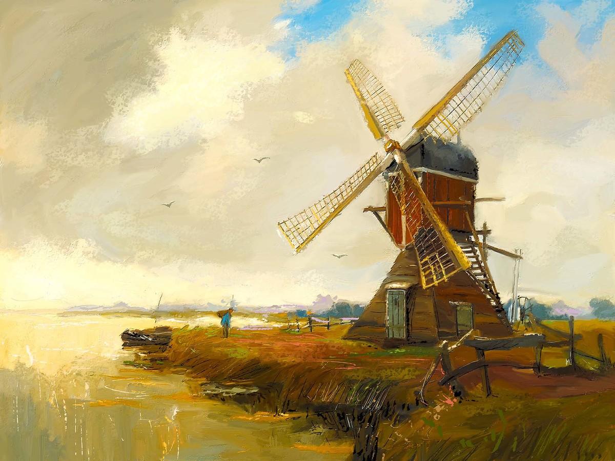 Windmill 05 Digital Print by The Print Studio,Digital