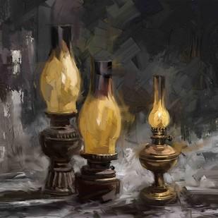 Oil Lamps Digital Print by The Print Studio,Digital