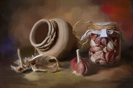 Clay pot with Onions Digital Print by The Print Studio,Digital