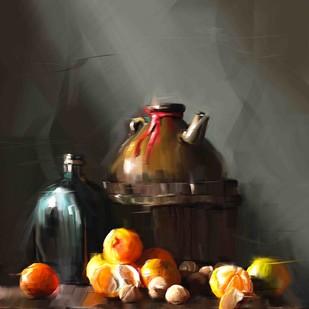 Kettle with oranges Digital Print by The Print Studio,Digital