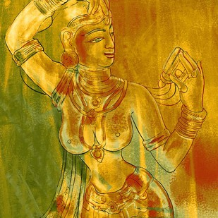 Apsara Adoration by The Print Studio, Digital Painting, Digital Print on Canvas, Orange color