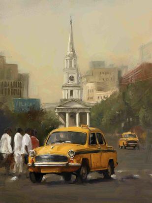 Taxi at St. Andrews- Kolkata Digital Print by The Print Studio,Digital