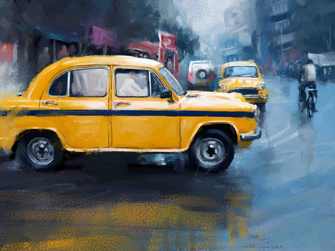Yellow Taxi- 22 Digital Print by The Print Studio,Digital