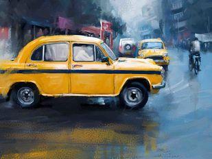 Yellow Taxi- 22 Digital Print by The Print Studio,Digital