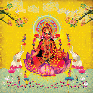 MAHAALAXMI-1 by Priyanka Kaushal, Digital Digital Art, Digital Print on Canvas, Beige color