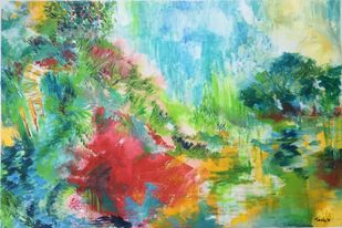Invitation by Tvesha Singh, Abstract Painting, Acrylic on Canvas, Green color