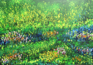 Bahar-e-Gul (Flowery Spring) by kaukab Ahmad, Abstract Painting, Acrylic on Canvas, Green color