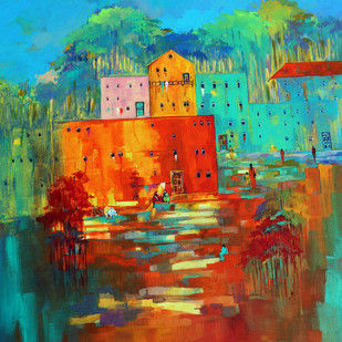 Venice City _02 by Ganesh Badiger, Abstract Painting, Acrylic on Canvas, Brown color