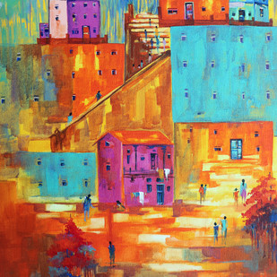 Venice City _01 by Ganesh Badiger, Expressionism Painting, Acrylic on Canvas, Brown color