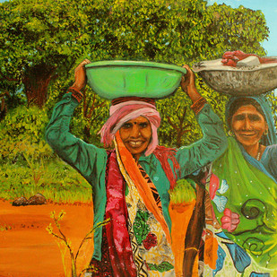 Simple Happiness by Amit Kenny, Expressionism Painting, Acrylic on Canvas,