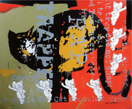TRAPPED by ALAY KUMAR, Pop Art Painting, Acrylic on Canvas, Brown color