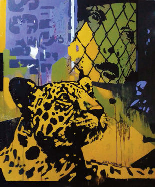 TRAPPED 2 by ALAY KUMAR, Pop Art Painting, Acrylic on Canvas, Brown color